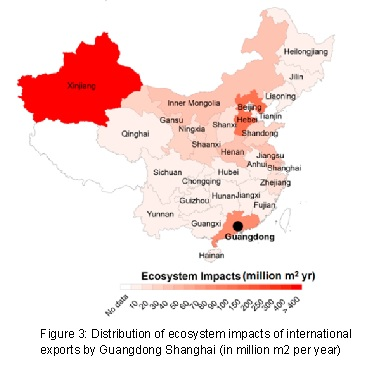 Figure 3 - Distribution of ecosystem impacts of international exports by Guandong Shanghai